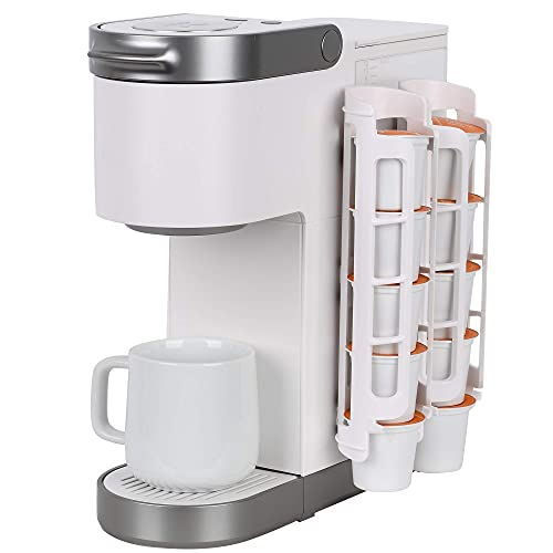 k cup storage solutions Coffee Pod Holder for Keurig K-cup, Side Mount K Cup Storage, Coffee Pod Organizer, Perfect for Small Counters (2 Pack  For 10 K-Cups, White)