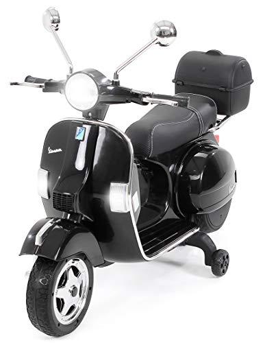 Actionbikes Motors Kinder Elektroroller Vespa PX150 - Lizenziert - 2x18 Watt Motor - Eva Vollgummi Reifen (Schwarz)