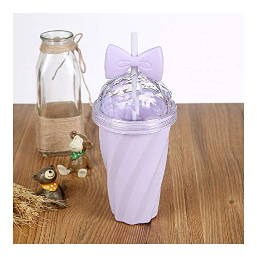 Cup Utensilien 400ml Bowknot Straw Cup Plastikbecher mit Deckel Stroh Wasser trinkt Fruchtsaft Cup tragbare Flasche Tasse 2020 neuestes heißes Schöne (Capacity : 0.4L, Color : Purple)