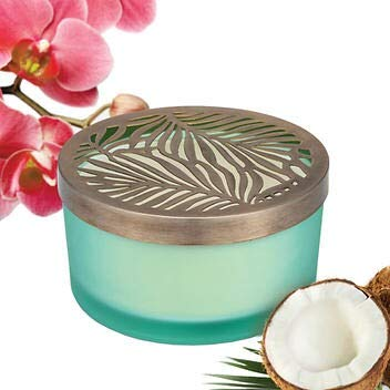 Luxury Candle Coconut Orchid Fragrance 21 Ounce Soy Blend Candles Four Wick with Beautiful Colored Glass