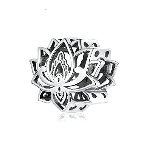 LIJIAN DIY 925 Sterling Jewelry Charm Beads Blooming Lotus Metal Girls Hacer Originales Pandora Collares Pulseras Y Tobilleras Regalos para Mujeres