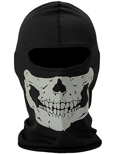 Aikuer Black Balaclava Ghosts Skull Full Face Mask, Windproof Ski Mask Motorcycle Face Masks Tactical Balaclava Hood for Men Women Youth Halloween Cosplay Outdoor Sport Cycling Hiking Skiing