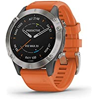 Garmin Fenix 6 Sapphire 47mm Multisport GPS Smart Watch (Titanium with Ember Orange Band)