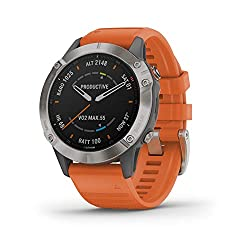 Best hiking smartwatch - Garmin Fenix 6 Sapphire, Premium Multisport GPS Watch, features Mapping, Music, Grade-Adjusted Pace Guidance and Pulse Ox Sensors, Titanium with Orange Band