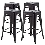 30 Inches Metal Bar Stools Set of 4 Counter Height Barstools Stackable Metal Chairs High Backless Dining Stool Bar Chair for Indoor Outdoor Patio Home Kitchen Black