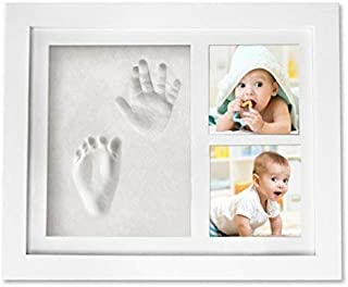 Baby Handprint Keepsake Footprint Photo Frame Kit - Baby Shower Registry Gifts & Nursery Room Decor for Newborn Girl Boy - Cast Clay Imprint of Kids Hand Feet in Wooden Box - A Unique Wall Decoration