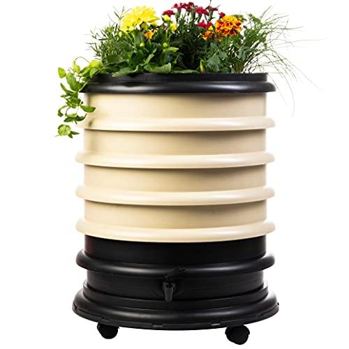 Lombricomposteur WormBox 4 plateaux Beige et jardinière - 72 litres - Recyclez vos déchets organiques en engrais pour vos plantes 🌻