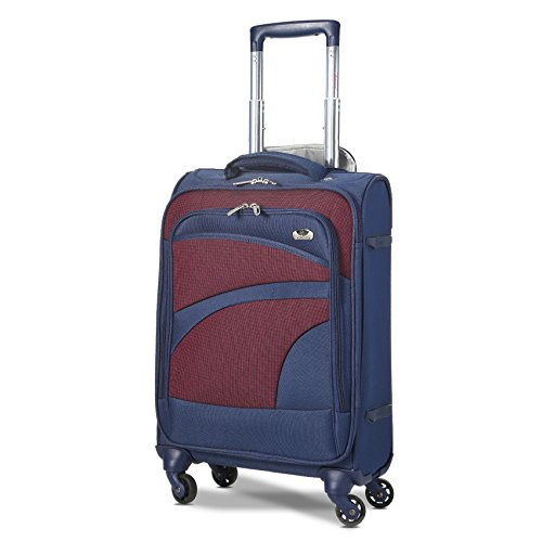 Aerolite Lightweight 55cm 4 Wheel Travel Carry On Hand Cabin Luggage Suitcase Navy Blue Plum Approved for easyJet British Airways Ryanair and More