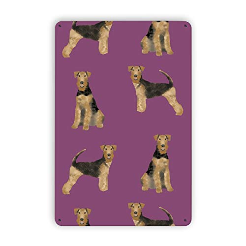 airedale terrier dog simple purple Iron Painting Metal Tin Signs Home Decor Coffee Wall Decor Art Poster Gift Vintage Plaques 12x8 Inch