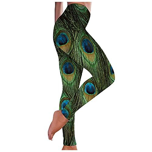 Leggings para mujer, con diseño de mariposas, cintura alta, para gimnasio, fitness, entrenamiento, control de barriga, pantalones de yoga, 1-verde, XL