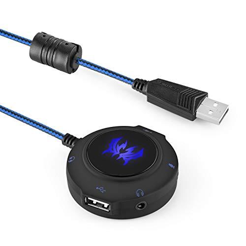 HWZDQLK Tarjeta de Sonido USB Externa, Adaptador de Auriculares estéreo for PC, computadoras portátiles, PS4 y Xbox, concentrador USB Plug and Play for Windows, Vista, Mac y iOS
