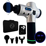Massage Gun Percussion Deep Tissue Massager Zohi | Professional Model | Sports & Chiropractic Massage Therapy for Athletes and Recovery | 20-Speed | Ultra-Quiet Brushless Motor | 4 Massage Heads