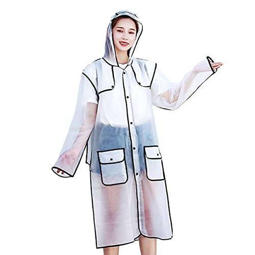 Eva portátil Impermeable con Capucha Escudo Reutilizable Lluvia Poncho de Emergencia para Adultos (Negro, XL)
