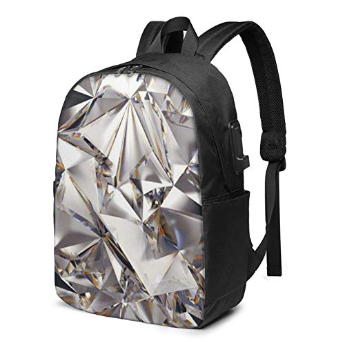 AOOEDM Glitter Abstract Diamond Crystal Pattern Printed Travel Lightweight Backpack with USB Charging Port and Headphone Port