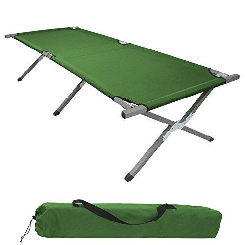 BB Sport Feldbett Klappbett 190 x 64 x 41 cm Stabiles Campingbett bis 120 kg Belastbar Tragbar Tasche Liege Reise Bequem, Farbe:grün