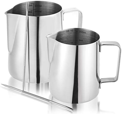 Nicunom 2 Pack Milk Frothing Pitcher, 12oz & 20oz Espresso Steaming Pitcher, Stainless Steel Milk Frother Steamer Cup, Perfect for Espresso Coffee Cappuccino Latte Art, Tick Mark Inside