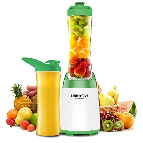 Personal Blender LINKChef 300W Mini Blender with 2 BPA-Free 600ML Bottles, Fruit & Vegetables Juice, Smoothies, Milkshake Maker, Electric Juicer (Green & White)