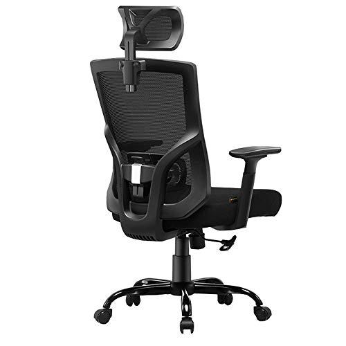 JIEER-C Slaapkamers Ergonomische bureaustoel Verstelbare hoofdsteun en lumbale steun Mesh bureaustoel E-sportstoel Met kantelfunctie Draaggewicht 130kg (Kleur : Wit) Zwart