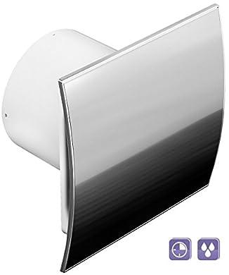 Foto di Ventola da parete WEI100H, con sensore di umidità timer e interruttore e piastra curva in acciaio inox, 100 mm.