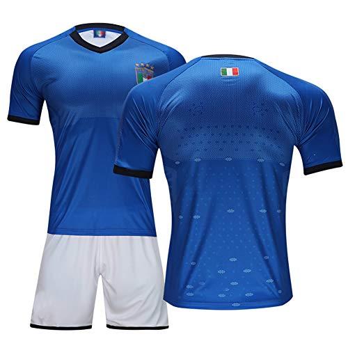 # 9 Balotelli Trikot # 3 Chiellini Fußball Uniform Set, Nationalmannschaft Club Kurzarm Shorts Training Wettkampfanzug für Herren Kind Geschenk 1 Set Blue-L