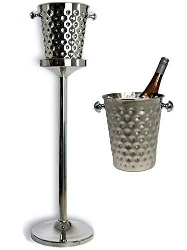 Steelson Weinkühler Edelstahl mit Ständer [93cm hoch, 4L Volumen] Champagnerkühler Sektkühler Flaschenkühler für Party, Weihnachten, Silvester, Date-Night | Bar-Set im Edlen Design