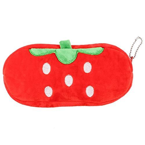 Funny live Short Plush Fruit Shape Pencil Case Pen Bag Pouch Coin Bag Purse Wallet Stationery Pouch Zipper Makeup Storage (Strawberry)