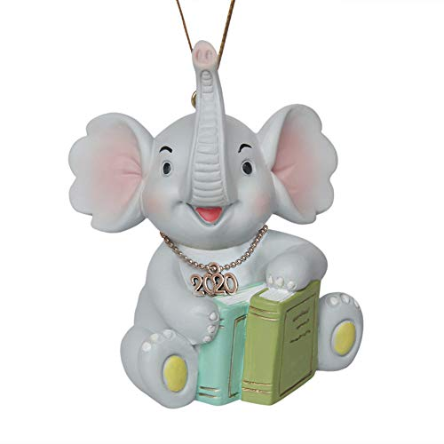 NIWUSUO Christmas Ornament 2020 Personalized for Kids Children Boy Girl- Baby First Christmas Ornaments 2020 Personalized (Elephant Reading)