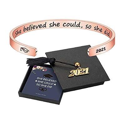 M MOOHAM Inspirational Graduation Gifts Cuff Bracelet - Engraved Inspirational Bracelet Cuff Bangle with 2021 Graduation Grad Cap, Mantra Quote Keep Going Bracelet Graduation Friendship Gifts for Her