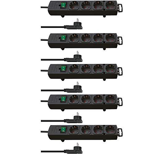 Brennenstuhl Comfort Line Plus - Regletas con 4 enchufes (con conector plano, interruptor, 2 m de cable y separación extraancha entre los enchufes, color: negro (5 regletas, con 4 enchufes)