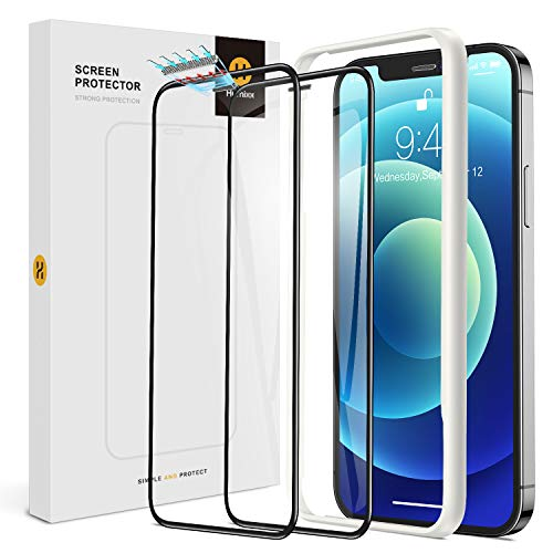 Humixx Compatible with iPhone 12/12 Pro Screen Protector Glass, [2 Pack] [3D Dustproof Meshes] 9H Hardness Industrial Grade Dustproof Tempered Glass Protective Film (6.1')