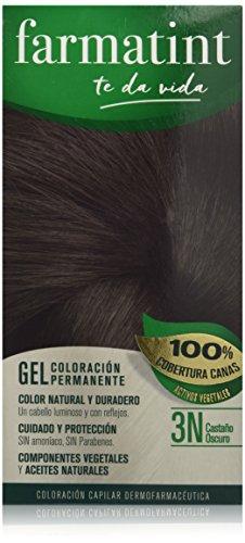 Farmatint Gel 3N Castaño Oscuro | Color natural y duradero | Componentes vegetales y aceites naturales | Sin amoníaco | Sin parabenos | Dermatológicamente testado