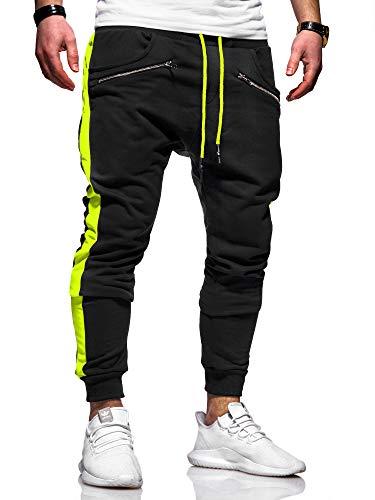 behype. Herren Lange Trainingshose Jogging-Hose Sport-Hose Zipper Side-Stripe 60-0361 (L, Schwarz-Neongelb)