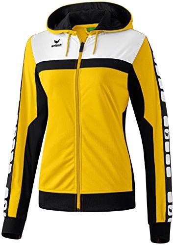 Erima Damen Classic 5-C Trainings Sportsjacke, gelb/schwarz/weiß, 42