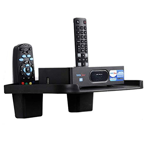 Digway Set Top Box Stand with 2 Remote Holder (Black)