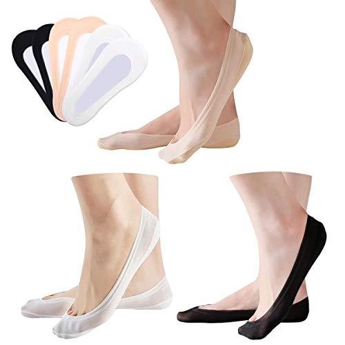ECOMBOS Damen Unsichtbare Socken - 6/10 Paar Ballerina Baumwolle Nylon Boat Socken mit Rutschfest Silikon atmungsaktiv Ballerina Unsichtbare Socken( Größe 35-38)