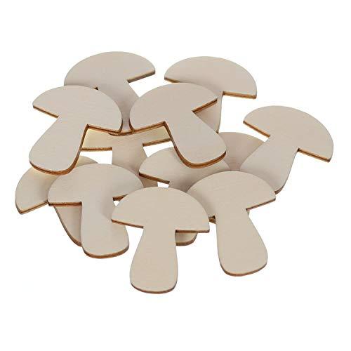 Holz Pilze - 1-10cm Streudeko Basteln Deko Tischdeko, Pack mit:100 Stück, Größe:Pilze 4cm