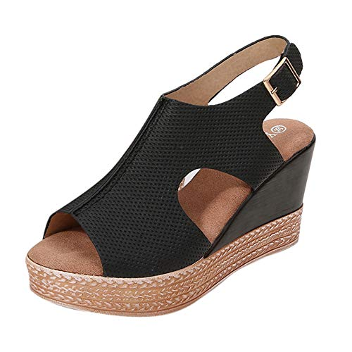 Mengove Sandalias Mujer Verano Moda Para Mujer Casual Leopard Peep Toe Plataforma Alpargatas Cuña Sandalias Zapato Hebilla Punta Abierta Comodas Sandalias de Vestir
