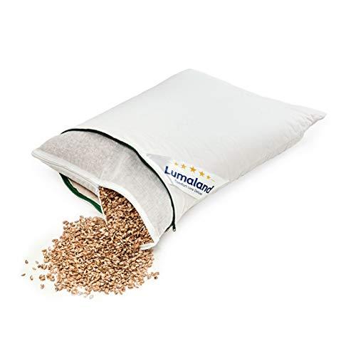 Lumaland Dinkelkissen Kissen gesteppt mit Baumwoll-Bezug Reißverschluss und Dinkelspelz-Füllung in Weiß 40 x 60 cm