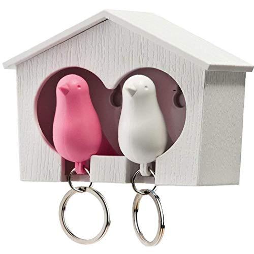 Titular De La Clave Casa Del Pájaro Llaveros Duo Gorrión De Madera Casa Del Pájaro Sostenedor De La Llave Del Pájaro Del Gorrión Anillo De Claves (blanco Y Rosado Del Pájaro) Accesorios De Viaje