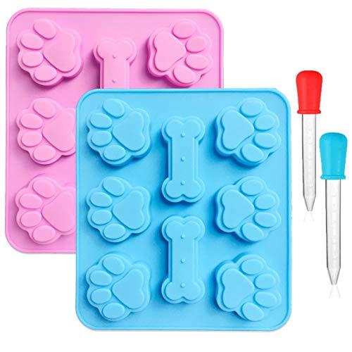 2 moldes de silicona con diseño de huellas de cachorro y hueso de perro, con 2 goteros líquidos transparentes graduados, 8 cavidades, bandejas de hielo reutilizables para hornear galletas y dulces