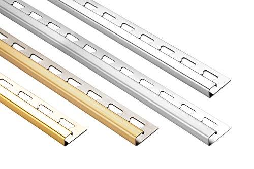 HEXIM 12mm Quadratprofil Edelstahlschienen Sparpakete - Fliesenschienen in silber & gold, gebürstet & glänzend - 20 Stück = 40 m á 2,00 m (silber gebürstet)