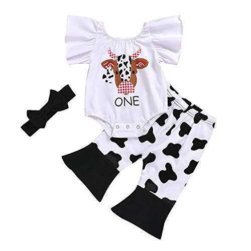 Janly Clearance Sale Conjunto de trajes para niñas de 0 a 24 meses, 3 piezas para niñas pequeñas, estampado de vaca, conjunto de trajes para niños grandes de 18 a 24 meses (blanco)