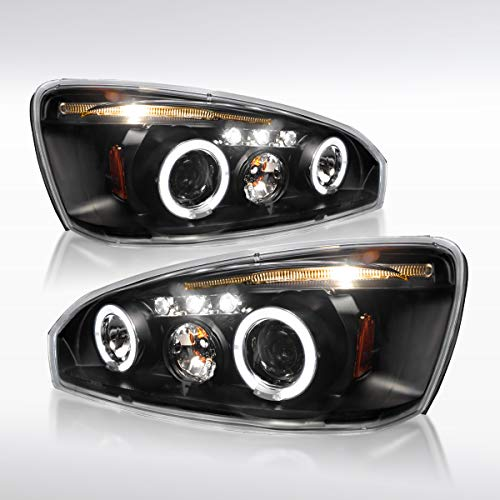 Autozensation For Chevy Malibu Dual Halo LED Projector Headlight Black Head Lamps Pair