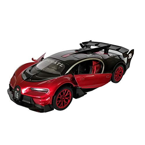 Lmoy 1:32 Scale Bugatti Chiron Vision Grand Turismo (GT) Zinc Alloy Pull Back Die-cast Model Car Toy Collection with Light & Sound (red)