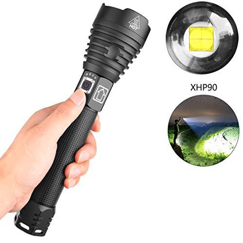 Xhp90 Hellste Starke Led Taschenlampe Der Welt Klein 10000 Lumen Taschenlampe mit Ladestation mit 2 x speziellem Lithium Ionen 26650 Akku, 1 x USB-Ladekabel Outdoor, Camping, Mehrzweckblitz