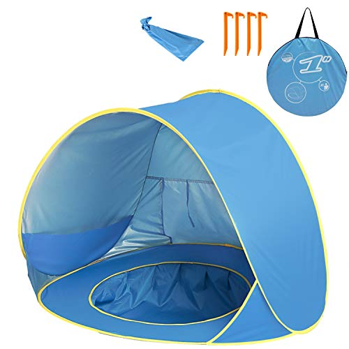 Shayson Baby Pop Up Beach Tent 2 Person Portable UV Protection Sun Shelter with Removable Pool-Includes Carry Travel Bag & Tent Pegs