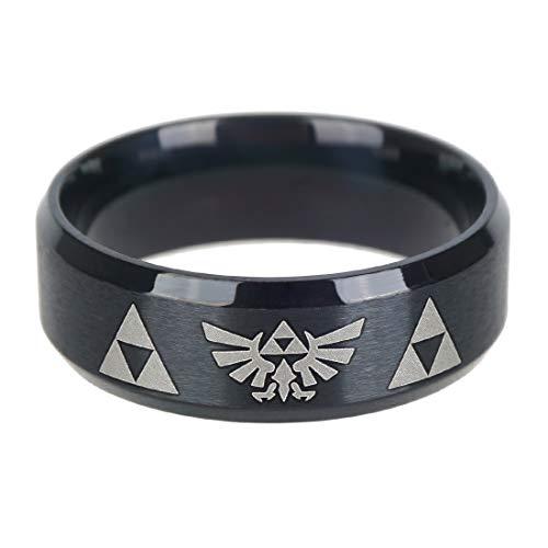 KeySmart Legend of Zelda Anello in metallo nero con stemma Hyrule, misura anello: 66