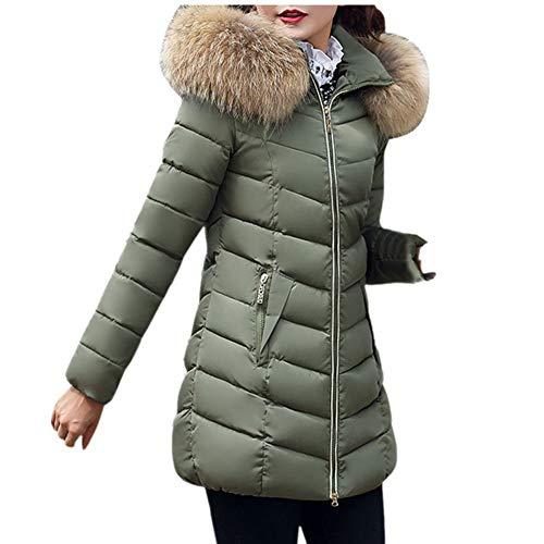 Qmber Daunenjacke Damen Mantel Ultraleicht Steppjacke Parka Winter Jacke Mit Kapuze Outwear Daunenmantel Fellkapuze Coat Hooded Warme Steppmantel, Mode Lange Dicke dünne Mantel (AG,Large)