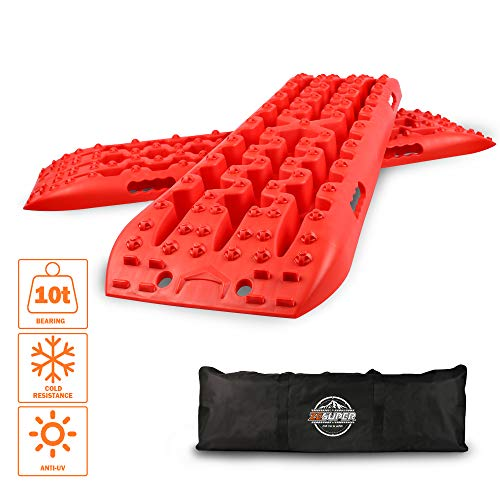 ZESUPER Recovery Traction Tracks Mat Tire Ladder Traction Track for Off-Road Mud, Sand, Snow 4WD (Red)