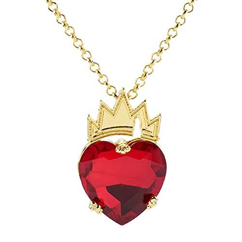 XCWXM Descendientes del Collar de corazón Rojo El Collar de Corona de corazón más Hermoso en Forma de corazón Decoración de Vestuario de Reina Rojo